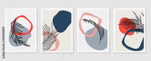 Fototapeta Palm leaves wall art vector set. Earth tone boho foliage line art drawing with  abstract shape.  Tropical Plant Art design for print, cover, wallpaper, Minimal and  natural wall art. obraz