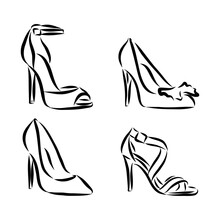 Set With Beautiful Women's Shoes. Freehand Drawing Style. Women's Shoes Vector Sketch Illustration