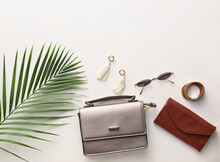 Stylish Bag And Accessories On Light Background