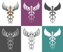 Caduceus Medical And Health Symbol Set, Vector Isolated Illustration. Two Snakes Winding Around Winged Staff Instead Of The Rod Of Asclepius. Symbol Of Hermes, Greek Mythology.