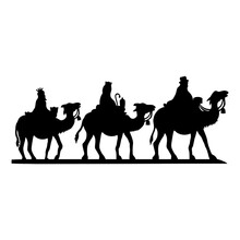 Holy Night Silhouette - Nativity Scene Of Baby Jesus Silhouette In A Manger With Mary And Joseph With The Three Wise Men. Christian Christmas Silhouette Of Animals. Illustration For Children.