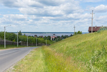 Kozmodemyansk, View Of The Smolensk Cathedral And The Wide Volga River, Photo Was Taken On A Sunny Summer Day
