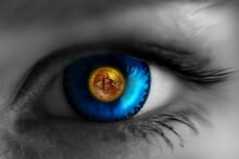Gold Coin Bitcoin In The Eye