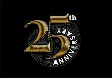 25th Years Anniversary Celebration Silver Design. Vector Design.