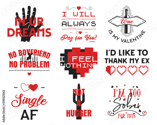 Funny Valentines Day typography logos emblems set. Holiday prints for t-shirts, poster, cards and stickers. Stock designs isolated on white