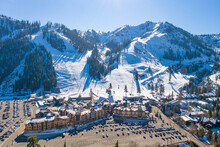 OLYMPIC VALLEY, CALIFORNIA, UNITED STATES - Dec 07, 2020: Squaw Valley Ski Resort Aerial Photo