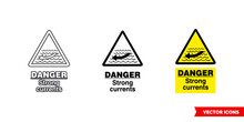 Danger Strong Currents Hazard Sign Icon Of 3 Types Color, Black And White, Outline. Isolated Vector Sign Symbol.