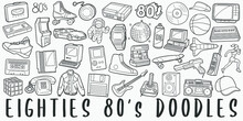 Eighties, Doodle Icon Set. 80 Years Style Vector Illustration Collection. Banner Hand Drawn Line Art Style.
