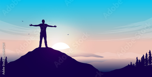 Mental happiness - Man on mountain peak with open arms welcoming a new day with sunrise and beautiful view. Vector illustration. - fototapety na wymiar