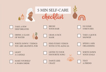 Self Care Checklist. Self Love And Self Care Ideas. Vector