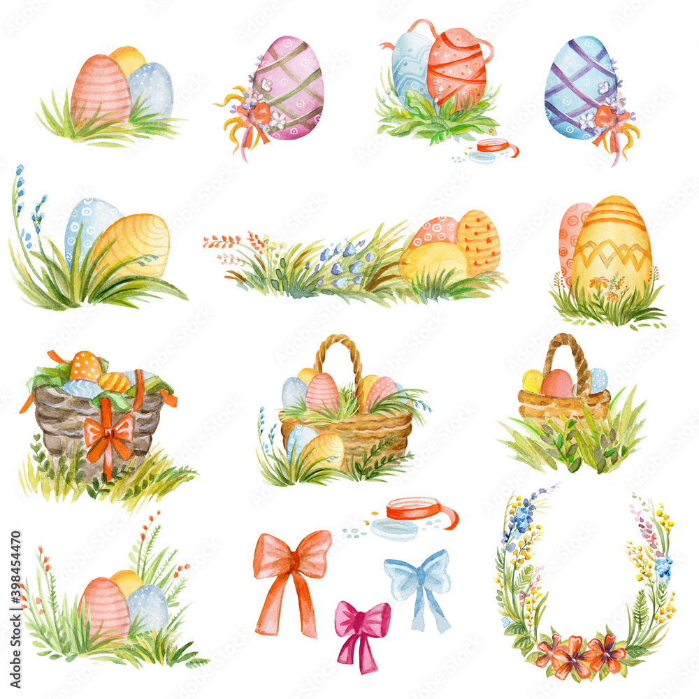Fototapeta Watercolor illustration of isolated Easter elements - Easter eggs, basket with eggs, ribbon, grass, bow. Colorful set of Easter details isolated on white background. For postcards, design. Easter conc
