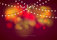 Bokeh Background With Outdoor String Lights. Party Glowing Light Bulbs Background.