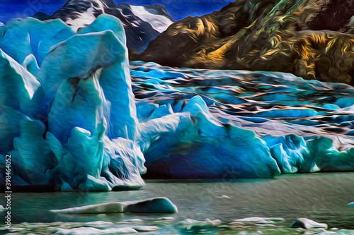 Obraz na plátně Glacier descending from the mountains towards a lake in Torres del Paine national park