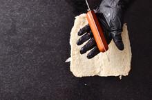 Cutting The Hot Dog Sausage