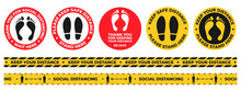 Social Distance Floor Stickers. Round Wait Here Warning Signs With Foot And Shoe Prints. Keep Safe Distancing Tape. Covid Signage Vector Set