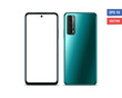 Realistic vector flat mock-up Huawei P Smart 2021 with blank screen isolated on white background. Scale image any resolution