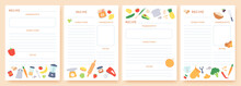 Recipe Cards. Pages For Culinary Book Decorated With Ingredients And Kitchen Utensils. Food Preparation Icons. Cook Card Template Vector Set