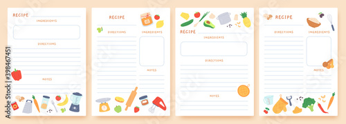 Fototapeta Recipe cards. Pages for culinary book decorated with ingredients and kitchen utensils. Food preparation icons. Cook card template vector set obraz