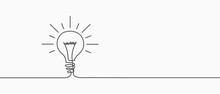 Electric Lamp. Hand-drawn. A Light Bulb. Light Bulb Included Or Idea Line Art Icon For Apps And Websites. Vector Illustration