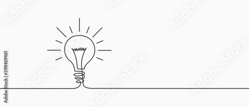 Electric lamp. Hand-drawn. A light bulb. Light bulb included or idea line art icon for apps and websites. Vector illustration - fototapety na wymiar