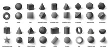 Realistic Black Basic Geometric 3d Shapes In Top And Front View Isolated On White. Three Dimensional Objects
