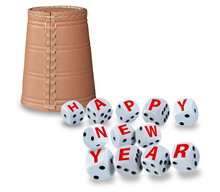 Tumbling Dice Spelling Happy New Year And A Raffle Cup Standing Upside Down In The Background On White Background. Good Luck And Wealth Concept.