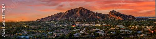 Fototapeta Camelback Mountain in phoenix arizona with sunset obraz