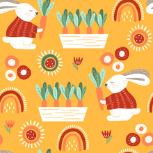 Floral Seamless Pattern With Bunnie And Carrot. Gardening Background. Modern Design For Paper, Covers, Cards, Fabrics And Other Users. Vector Illustration.