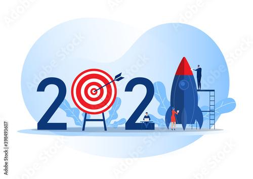 Obraz Team business prepare rocket launch start business target 2021 years concept vector illustrator - fototapety do salonu