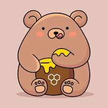 Vector Illustration Of Cute Happy Bear Eating Honey From Paw On Brown Color Background