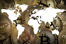 Bitcoin Entering Mass Adoption Of Hedge Funds, Family Offices, Pension Funds, VC Capital, Financial Institutions And Banks With A Backdrop Of World Map Showing The Globe Going Digital And Borderless