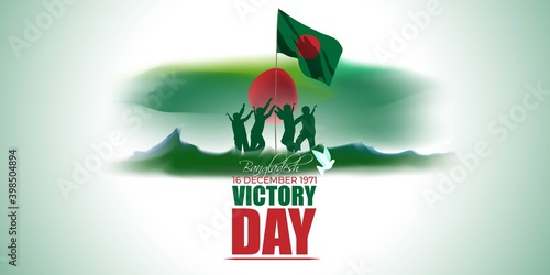 Photo Vector illustration for Bangladesh victory day, national day, soldiers, flag hoisting, pigeon, mountain on abstract background with patriotic color theme