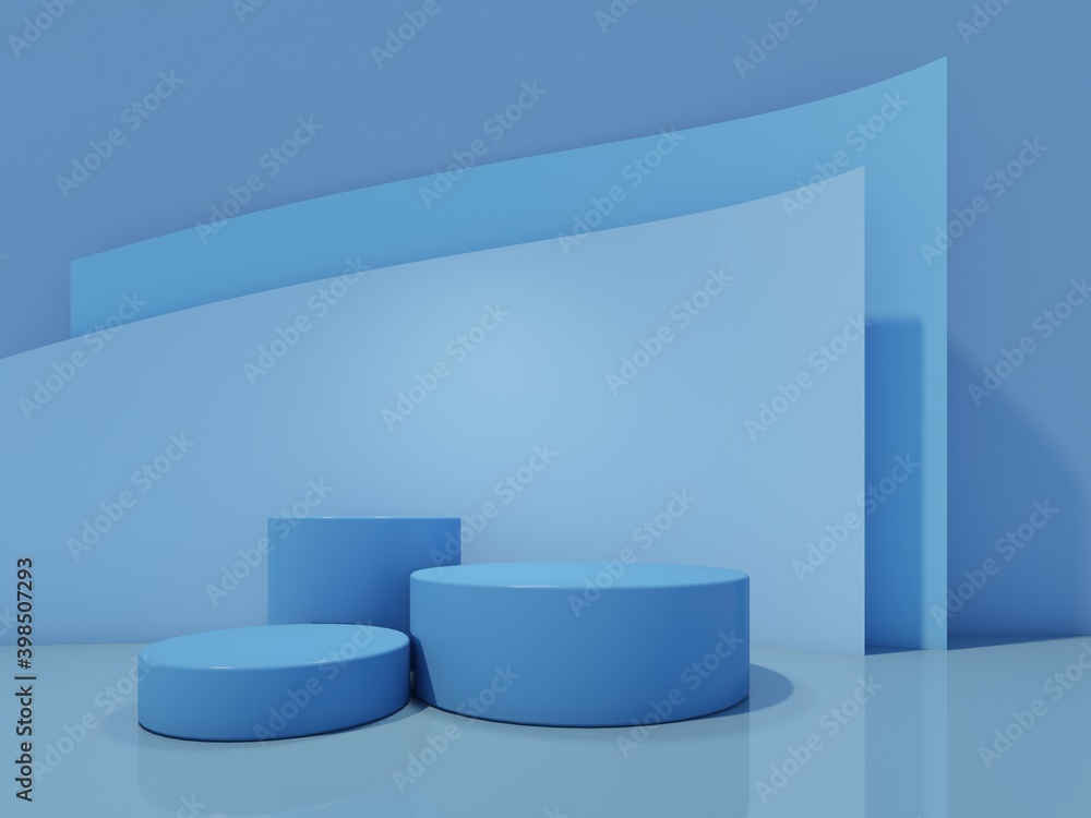 Fototapeta Cosmetic bottle podium with on blue background. 3d rendering.