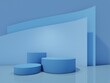 Cosmetic bottle podium with on blue background. 3d rendering.