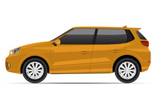 Realistic Yellow Compact SUV Car Side View