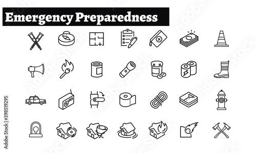 Stampa su Tela Emergency Preparedness icons vector design