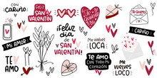 Valentines Day Common Spanish Romantic Phrases. Vector Clip Art Set For Cards. Text Reads: With Love, Happy Saint Valentines Day, My Love, I Love You Very Much In Variations, You Drive Me Crazy.