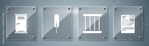 Fotografering Set Lawsuit paper, Prison window, Feather pen and Prison cell door