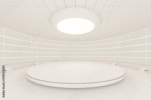 Obraz Creative round room, empty presentation room, 3d rendering. - fototapety do salonu
