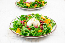 Two Plates Of Vegetarian Salad With Fruits, Vegetables And Burrata Cheese