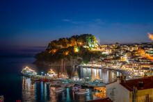 Greece, Preveza, Parga, Illuminated Marina Of Resort Town On Ionian Coast At Summer Night