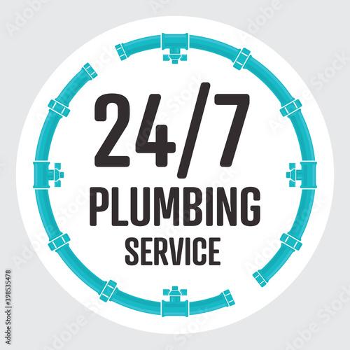 24-7 Plumbing Service circle badge Fototapeta