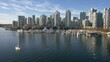 perfect pan blue sky of yaletown seawall and boats at marina