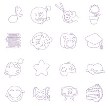 Hobbies Icons. Reading, Music, Handicrafts, Gardening, Drawing, Travelling, Photography, Videotape, Fitness, Blogger. Unusual Style. Vector Illustration.