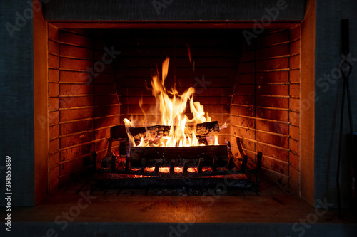 Fotomural Fireplace, fire burning, cozy warm fireside, christmas home.