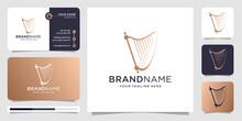 Harp Logo Design With Business Card Vector Illustration. Icon For Music ,classical,instrument,elegant,luxury ,brand. Premium Vector