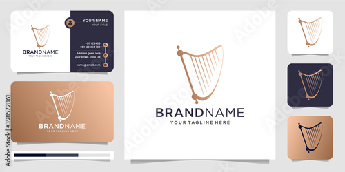 Fotografie, Tablou harp logo design with business card vector illustration
