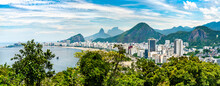 Tropical View Of Copacabana Seaside In Rio De Janeiro, Brazil