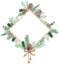 Watercolor Winter Frame With Cones, Pine Branches And Golden Bells Decirated With A Bow. Christmas Card Template.