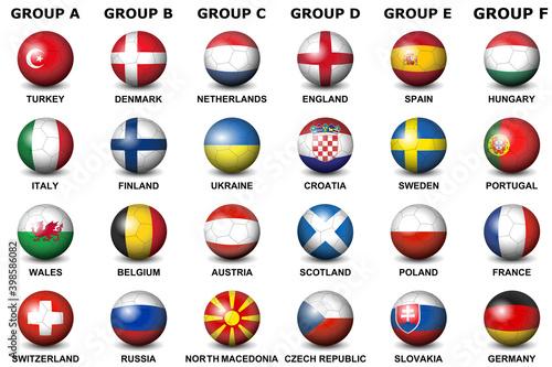 Fototapeta Soccer or football ball nation flag Soccer or football ball nation flag vector illustration isolated obraz